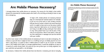 Are Mobile Phones Necessary? Exposition Writing Sample - Literacy, Are Mobile Phones Necessary? Exposition  Writing Sample , writing sample, writing, english