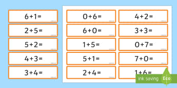 Number Bonds 6 and 7 Sentence Cards - number bonds, 6, 7, cards