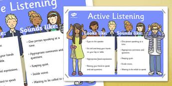Speaking and Listening Skills Poster - behaviour management