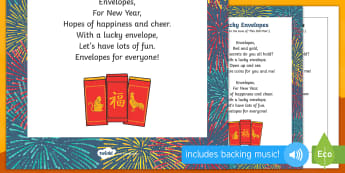 Lucky Envelopes Song - EYFS, Early Years, Key Stage 1, KS1, Chinese New Year, festivals, Spring Festival, dragon dance, red