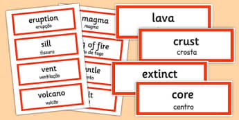 Volcano Word Cards Portuguese Translation - portuguese, volcano, word cards, word, cards