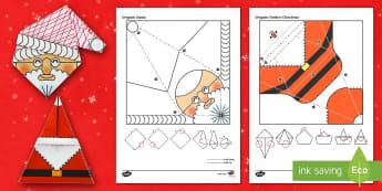 Simple Origami Santa Activity Pack Paper Craft - origami, santa, father christmas, paper craft, xmas, christmas