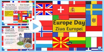 Europe Day PowerPoint English/Romanian - Europe Day, 9th of May, Europe, European Union, EU, Schuman Day, ECSC, ECC, European Economic Commun