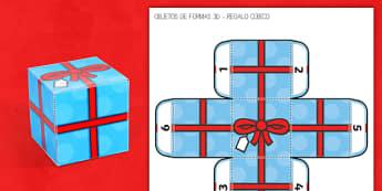 Regalo de forma de cubo - cubo, regalo, maqueta, modelo de papel, manualidades, formas 3D, cubo, cúbico, Navidad, Reyes, Span