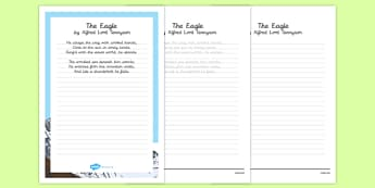 The Eagle Alfred Lord Tennyson Poem Handwriting Practice - poem, handwriting, practice, writing, the eagle, alfred lord tennyson