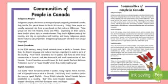 Communities of People in Canada Fact File - Canada, canadian, canadian history