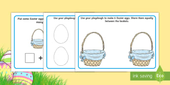 Easter Maths Playdough Mats - CfE Early Level Easter Themed Maths Activities, counting, sharing, division, adding.