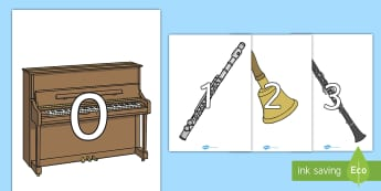 Numbers 0-30 on Musical Instruments - Music, instrument, Foundation Numeracy, Number recognition, Number flashcards, 0-30, A4, display numbers, piano, drums, guitar, recorder, violin, triangle, cymbals, notes, music