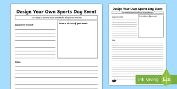 Design Your Own Sports Day Event Activity Sheet - Sport's Day, Sport's event, sports day, sports event, cfe second, cfe, physical education, pe, p.e