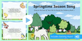 Springtime Season Song PowerPoint - EYFS, Early Years, Key Stage 1, KS1, spring, plants and growth, flowers, seasons, weather, rainbow,