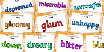 Alternative Words For Sad Display Posters - alternative words for sad, better words for fun, powerful words, synonyms, synonym posters, synonyms for sad