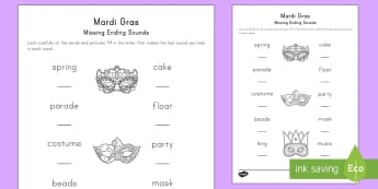 Mardi Gras Missing Sounds Activity Sheet - Mardi Gras, Fat Tuesday, Shrove Tuesday, Carnival