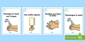 Lavarsi le Mani Poster - come, lavarsi, lavare, le, mani, igiene, bagno, italiano, italian, lavandino, sapone, acqua