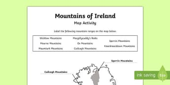 Mountains of Ireland Map Activity Sheet