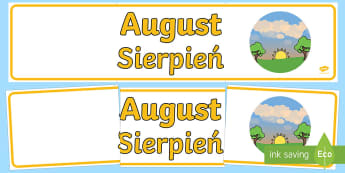 August Display Banner English/Polish - August Display Banner - august, display banner, display, banner, months, year, abnner,EAL,Polish-tra