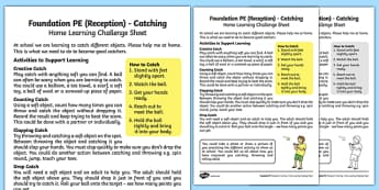 Foundation PE (Reception) Catching Home Learning Challenge Sheet - EYFS, PE, Physical Development