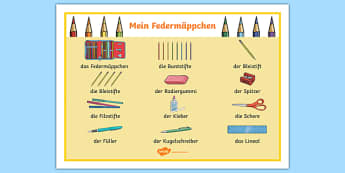 Pencil Case Objects German Word Mat