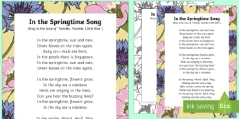 In the Springtime Song - EYFS, Early Years, Key Stage 1, KS1, spring, plants and growth, flowers, seasons, weather, rainbow,