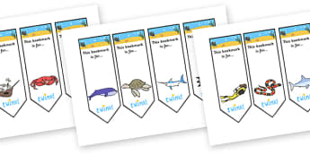 Editable Under the Sea Bookmarks - Bookmark, bookmark template, Under the Sea, gift, present, book, reward, achievement, fish, octopus, sea, seaside, water, tide, fish, sea creatures, shark, whale, marine life, dolphin