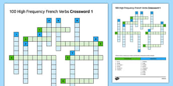 100 High Frequency French Verbs Crossword 1