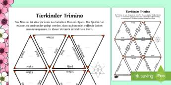 Tierkinder Trimino Domino Karten - Frühling, Jahreszeit, Tiere, Tierkinder, spring, animals, pets, kids,German
