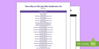 There Was an Old Lady Who Swallowed a Fly Book List - EYFS, Early Years, There Was an Old Lady Who Swallowed a Fly, nursery rhymes, animals, fiction, non-