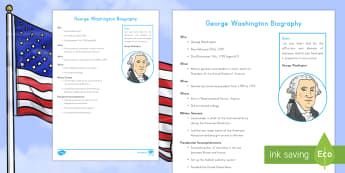 George Washington Fast Facts Fact File - George Washington Worksheets. American Presidents, American History, Social Studies