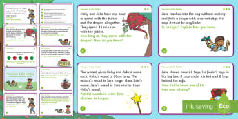 Year 2 Treasure in the Garden Reasoning Differentiated Maths Challenge Cards - reason, discuss, solve, problem, explain, reasoning, abstract