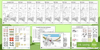 Exploring My World - Grandad's Farm Maths Activity Pack - Twinkl Experience Stories, maths, numeracy, The Farm, Grandad's Farm, farmer, Irish
