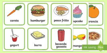 Attività Dividi il Cibo Sano da Quello Spazzatura Esercizio - cibo, alimenti, merenda, sano, salutare, italiano, italian