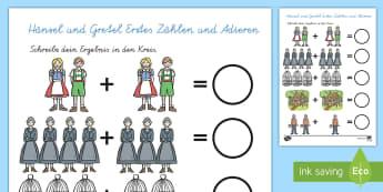 Hänsel und Gretel Arbeitsblatt: Erstes Zählen und Addieren - Hänsel und Gretel, Märchen,Addieren, Erstes Rechnen, 1. Klasse,German