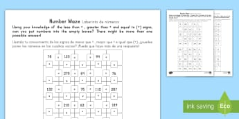 Place Value Number Maze Activity Sheet US English/Spanish (Latin) - Maths Mastery, Place Value, value, position, digit, number, reason, justify, predict, problem, solve