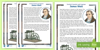 Scottish Scientist and Engineer James Watt Differentiated Fact File - CfE, Scot, Scottish, famous Scot, significant individual, science week, STEM, industrial revolution,