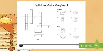 Pancake Tuesday Crossword Gaeilge  - Pancake Tuesday/ Máirt na hInide, pancakes, pancóga, bia, crossword, puzzle, gaeilge,Irish