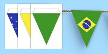 Brazil Flag Bunting - brazil, flag, bunting, brazil bunting, flag bunting, brazil flag, brazilian bunting, classroom bunting, bunting decoration, brazilian