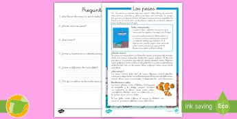 Comprensión lector: Los peces - lectura, escritura, pez, animales marinos, animales, vertebrados, lengua castellana, lengua, pescado