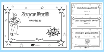 Father's Day Certificates (Colouring) - Father's day card, father's day cards, father's day activity, father's day resource, card, card template,  coloring, fine motor skills