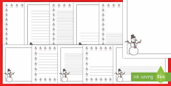 Frosty the Snowman Page Border Pack - borders, writing, snow, snowman, Christmas, winter, page borders, pages, templates,