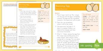Bouncing Egg Science Experiment and Prompt Card Pack - Early Childhood Animals, Animals, Pre-K Animals, K4 Animals, 4K Animals, Preschool Animals, Farm Ani