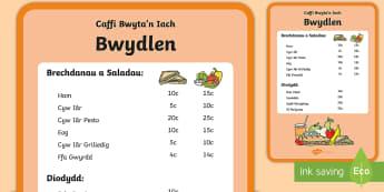 Bwydlen Caffi Bwyta'n Iach Bwydlen Chwarae Rôl  - Dysgu Cymraeg fel Ail Iaith,Welsh