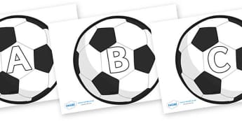 A-Z Alphabet on Football - A-Z, A4, display, Alphabet frieze, Display letters, Letter posters, A-Z letters, Alphabet flashcards