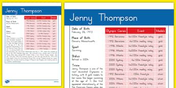 USA Olympians Jenny Thompson Fact File