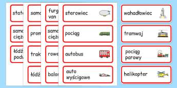 Karty ze słownictwem Transport po polsku - pociąg, samochód