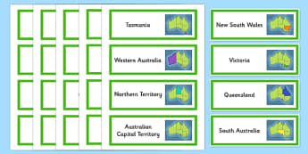 Australian States and Territories Vocabulary Word Cards - states, territories, vocabulary, map, display, capital, Australia