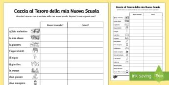 Caccial al Tesoro della mia Nuova Scuola - caccai, al , tesoro, benvenuto, nuova, scuola, prima, scolastico, alunni, italiano, italian