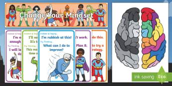 Superhero Themed Developing Growth Mindset Display Pack - Developing Growth Mindset Display Pack - Growth, Mindset, Displays,positive thinking, growth minset,