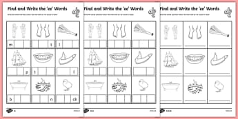 Ee Worksheet - Find and Write the ee Words Differentiated Activity Sheet Pack, worksheet