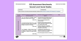 CfE Second Level Social Studies Assessment Benchmarks Assessment Tracker - CfE Benchmarks, tracking, assessing, progression, numeracy, literacy, health and wellbeing,Scottish