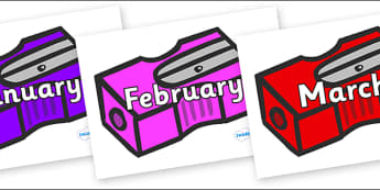 Months of the Year on Pencil Sharpeners - Months of the Year, Months poster, Months display, display, poster, frieze, Months, month, January, February, March, April, May, June, July, August, September