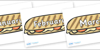 Months of the Year on Paninis - Months of the Year, Months poster, Months display, display, poster, frieze, Months, month, January, February, March, April, May, June, July, August, September